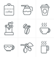 Line Icons Style Coffee icons with White Backgroun vector image