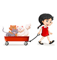 Little girl pulling cart with cats on it vector image vector image