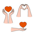 love emotion care and giving emotion gesturing vector image
