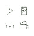 media outline icons set vector image