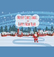 merry christmas funny cute santa claus with a bag vector image