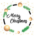 merry christmas greeting card with green spruce vector image vector image