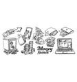 money finance collection monochrome set vector image