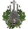 oak wreath a viking helmet and two crossed vector image