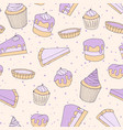 pastry seamless pattern with cakes pies tarts vector image