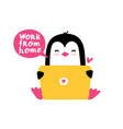 penguin sitting with a laptop vector image vector image