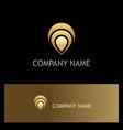 pin position gps technology gold logo vector image