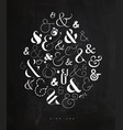 poster symbol ampersand chalk vector image vector image