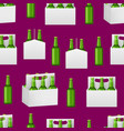 realistic detailed 3d beer bottles pack seamless vector image vector image