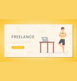 remote job landing page template freelance vector image vector image
