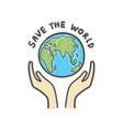 save world globe and hands doodle earth icon vector image vector image