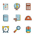 school icons set flat style vector image vector image