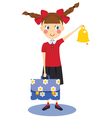 Schoolgirl with briefcase and bell vector image vector image
