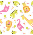seamless animal scandinavian pattern vector image