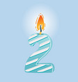 second birthday candle vector image vector image