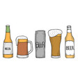 set of beer bottles and glass vector image vector image