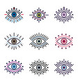set of colored line eyes vector image