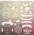 Set Of Vintage Christmas Symbols And Ribbons vector image vector image