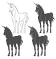 set of with a unicorn vector image