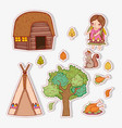 set woman indigenous with autumn leaves and house vector image vector image