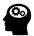 Silhouette of man head with gears vector image vector image