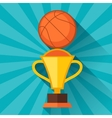Sports with basketball and prize in flat style vector image