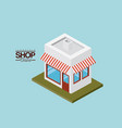 store with sunshade striped red and white over vector image vector image