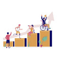 successful disabled business people flat vector image vector image