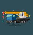 truck crane flat design vector image vector image