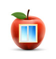 white plastic window in a red apple isolated on vector image vector image