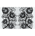 Wide seamless black lace ribbon with roses vector image vector image