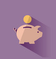 piggy bank icon with shadow on a purple background vector image