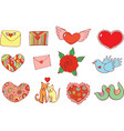 sticker set for valentine s day doodle cartoon vector image