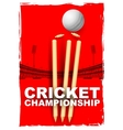 Cricket stumps and bails hit by a ball vector image