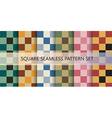 Squares seamless pattern set vector image