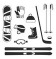 winter sports equipment icons silhouettes vector image