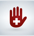 an isolated hand with a first aid icon or cross vector image vector image