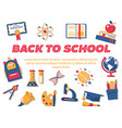 back to school horizontal flat banner vector image