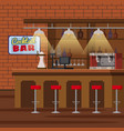 bar counter pub beer tap pump stools shelves vector image