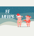 be merry poster piglet new year symbol with gift vector image vector image
