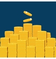 Big stacked pile of flat coins vector image vector image
