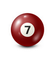 billiardred pool ball with number 7snooker vector image vector image