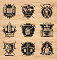 black vintage knights emblems set vector image vector image