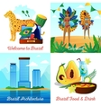 Brazil Travel 4 Flat Icons Square vector image vector image