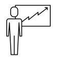 businessman presentation board financial arrow vector image