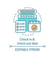 check-in and check-out term concept icon vector image vector image