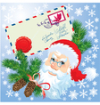 Christmas envelop and Santa Claus head vector image