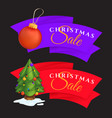 christmas sale labels set with decorated vector image vector image