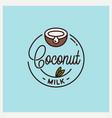 coconut milk logo round linear juice vector image vector image