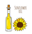 Colorful hand drawn sunflower bottle vector image